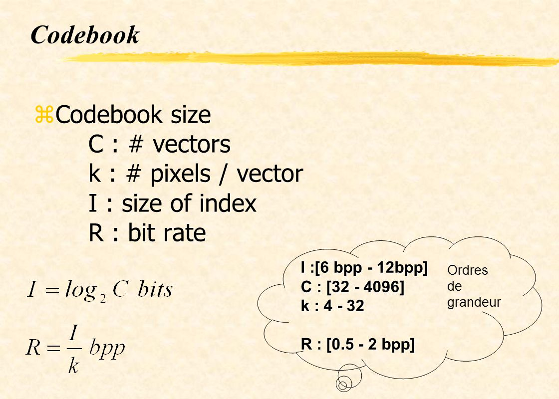 Codebook Codebook size C : # vectors k : # pixels / vector I : size of index R : bit rate. I :[6 bpp - 12bpp]